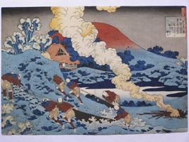 Digital photo of Hokusai woodblock print, 100 Poems explained by the nurse
